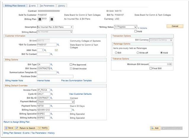 Billing Plan General page