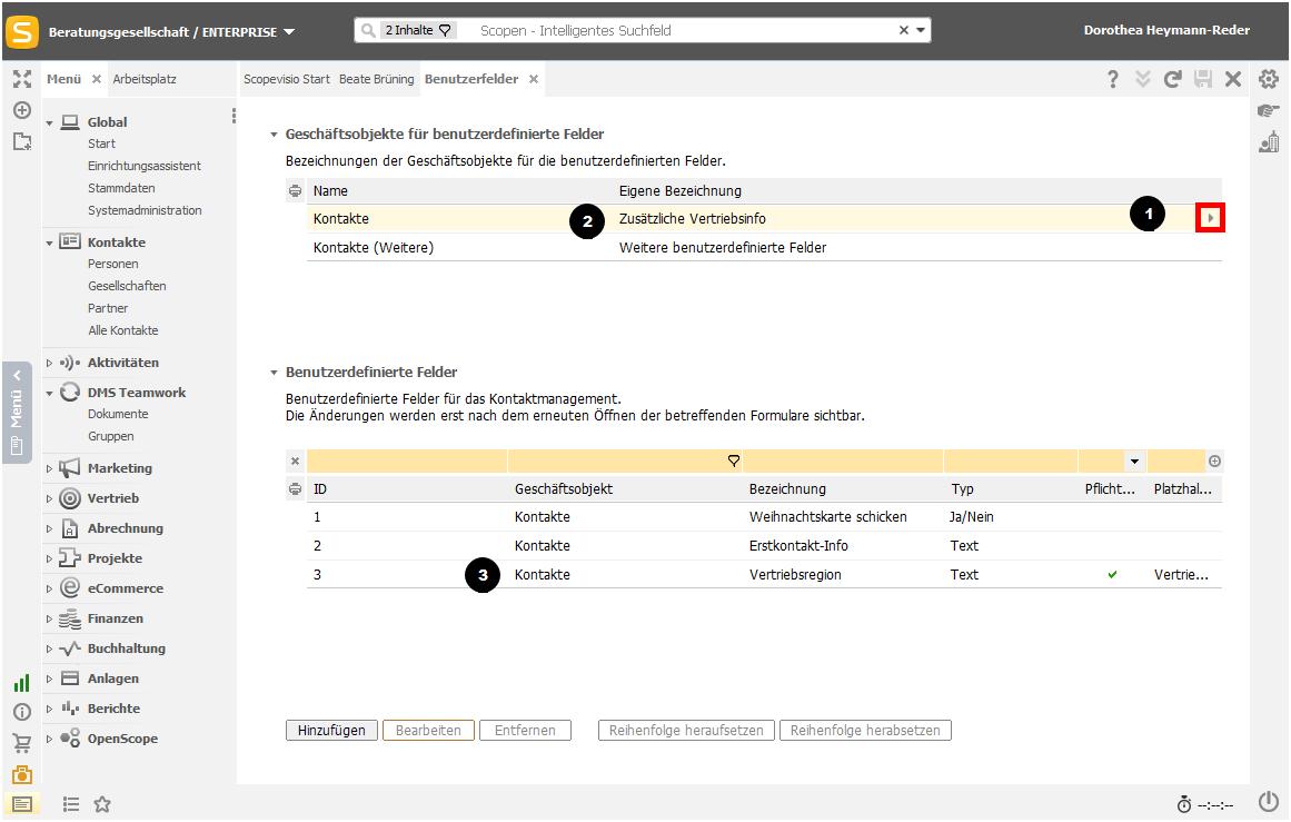 Benutzerdefinierte Felder zu Geschäftsobjekten zuordnen