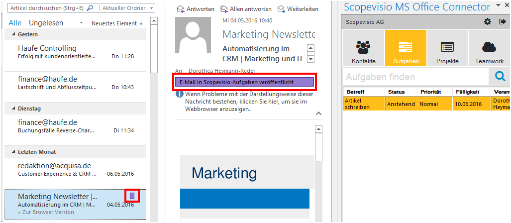 Anzeige in Outlook