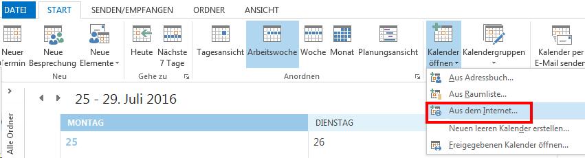 Kalender in Outlook einbinden