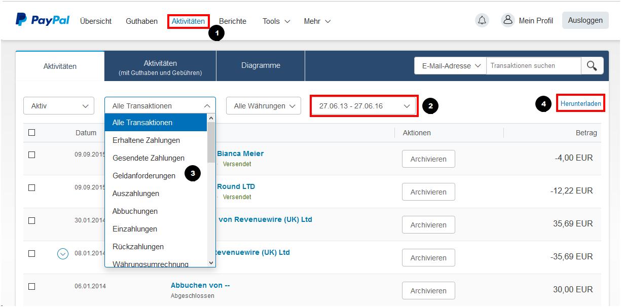 PayPal-Kontoauszüge exportieren