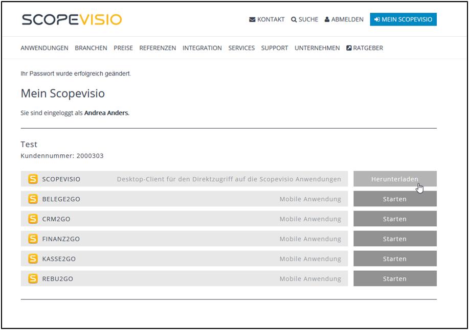 Benutzer installiert Scopevisio-Client