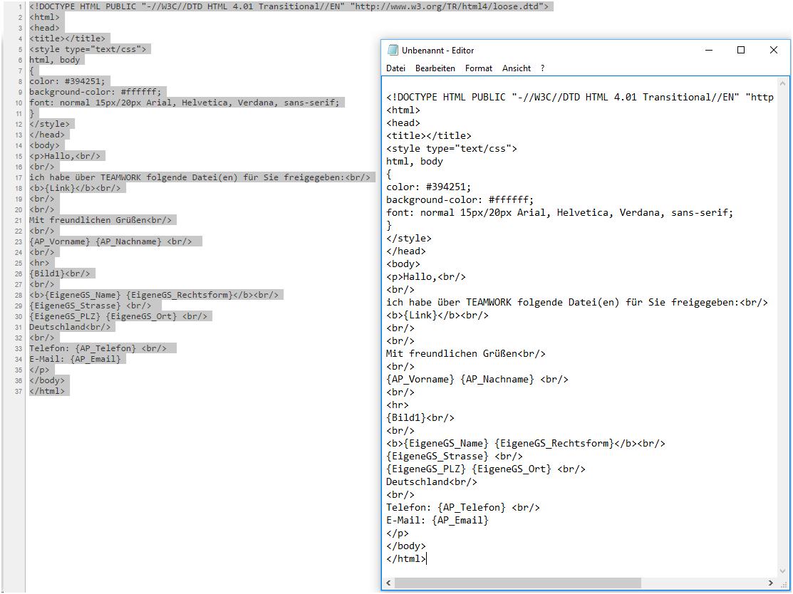 HTML-Code kopieren und ändern