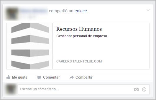 Ejemplo de cómo quedaría la oferta en tu muro de Facebook
