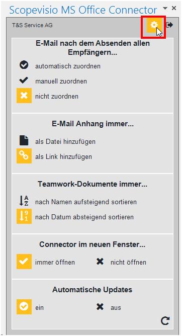 Einstellungen für das Speichern von E-Mails und Anhängen