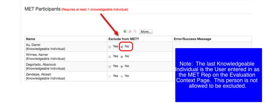 Exclude Individuals as MET Participants