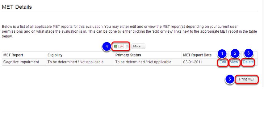 Edit, View, Delete, or Download MET Report(s)