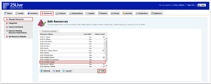 Edit Resources Screen