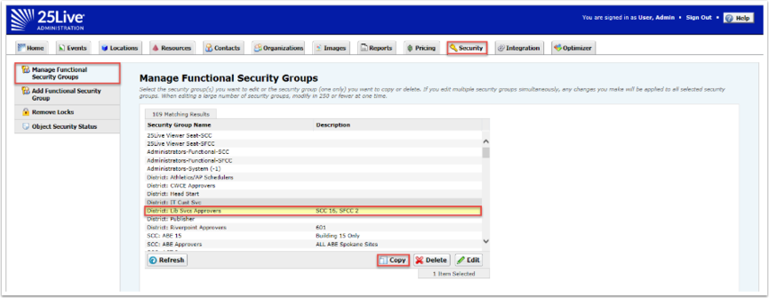 Manage Functional Security Group