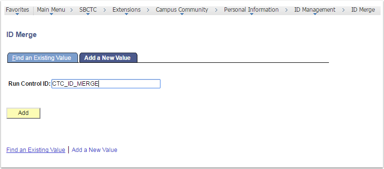 ID Merge page - Add a New Value tab