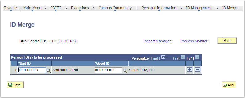 ID Merge page - Person ID(s) to be processed field