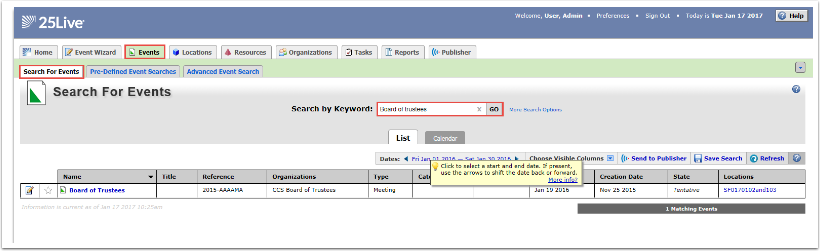 Event Search by Keyword