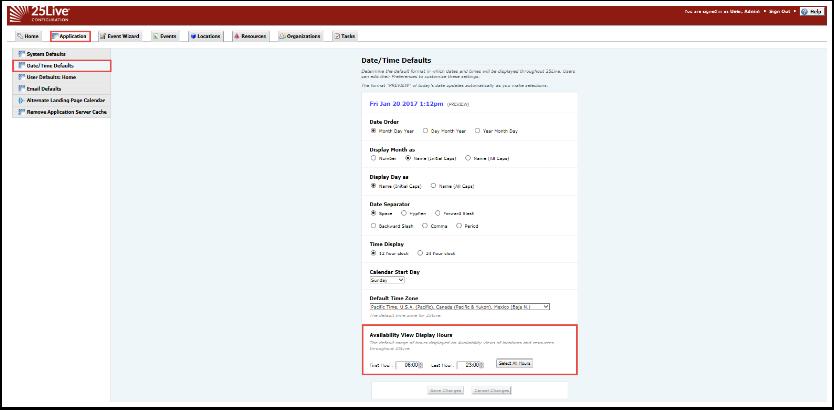 Configuration URL Date/Time Defaults
