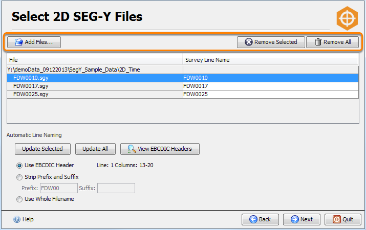 Select 2D SEG-Y files for import