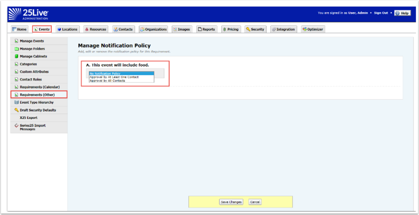 Manage Notification Policy