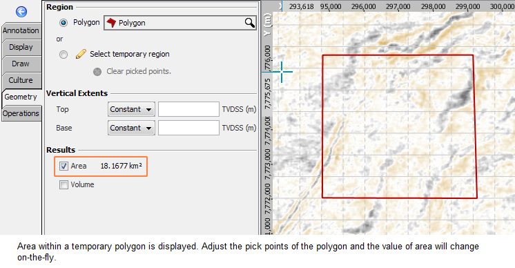 Measure the space based on a polygon