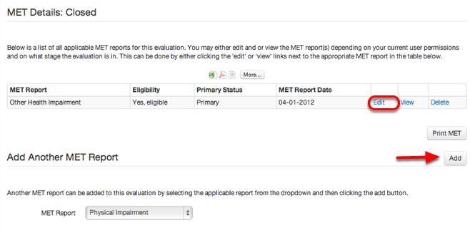Edit, View, or Delete MET Report(s)