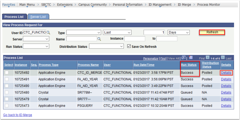 Process List - Details link highlighted