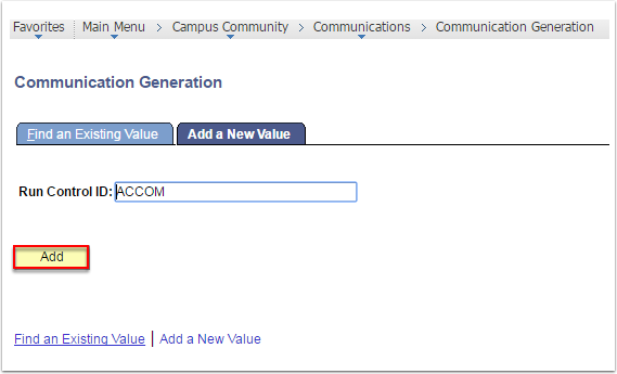 Communication Generation page - Add a New Value tab