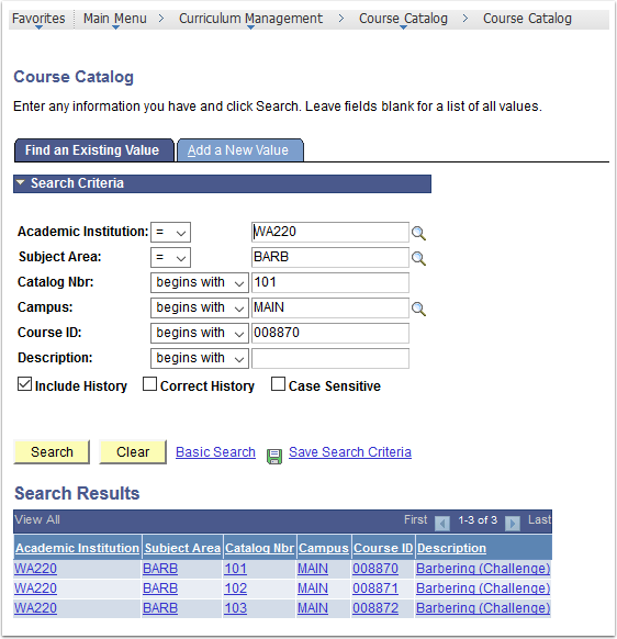 Course Catalog - Find an Existing Value tab