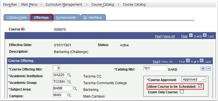 Offerings tab - Allow Course to be Scheduled checked