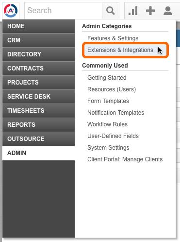 Autotask > Admin > Extensions & Integrations