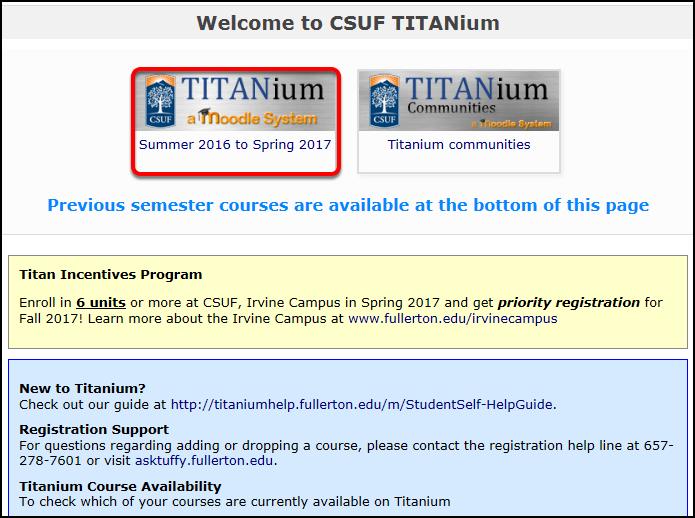 On the TITANium landing page, click the current TITANium semester.