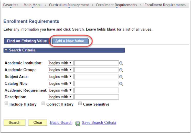 Enrollment Requirements - Add a New Value tab