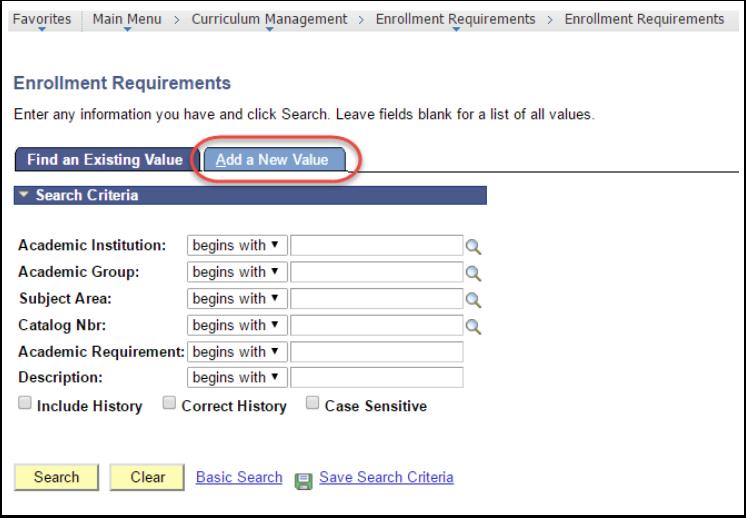 Enrollment Requirements - Add a New Value tab