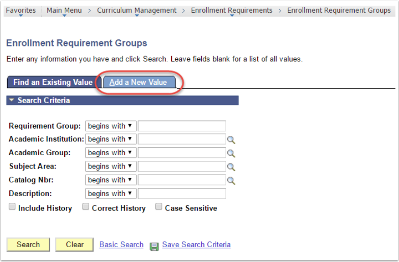Enrollment Requirement Groups - Add a New Value tab