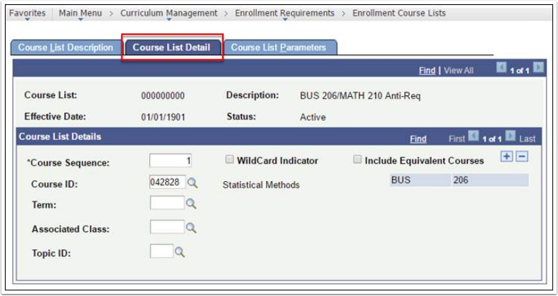Course List Detail tab