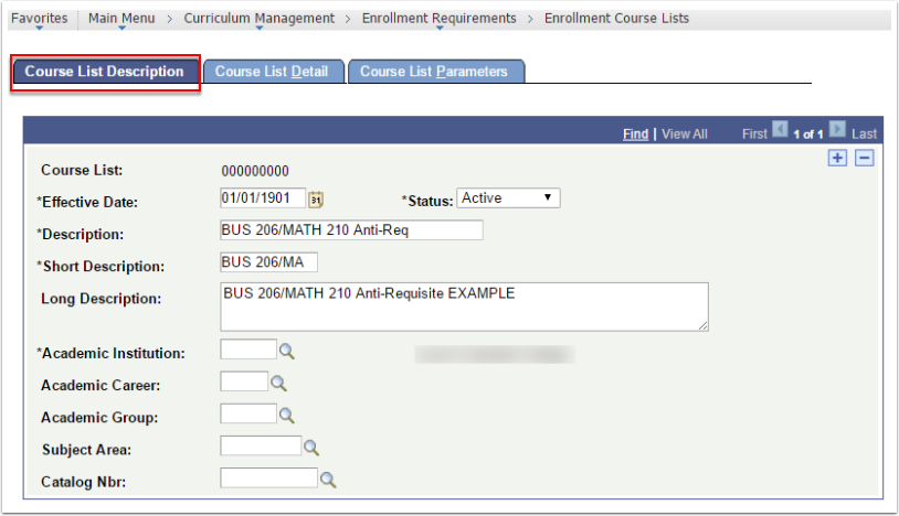 Course Description tab
