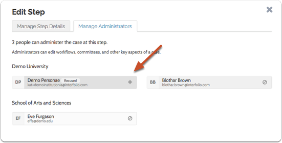 If necessary, you can click the addition sign to add the Administrator back