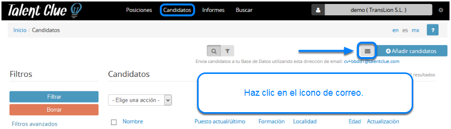 Sube candidatos por Mail