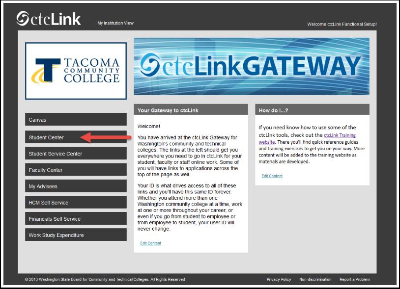 ctcLink Gateway page