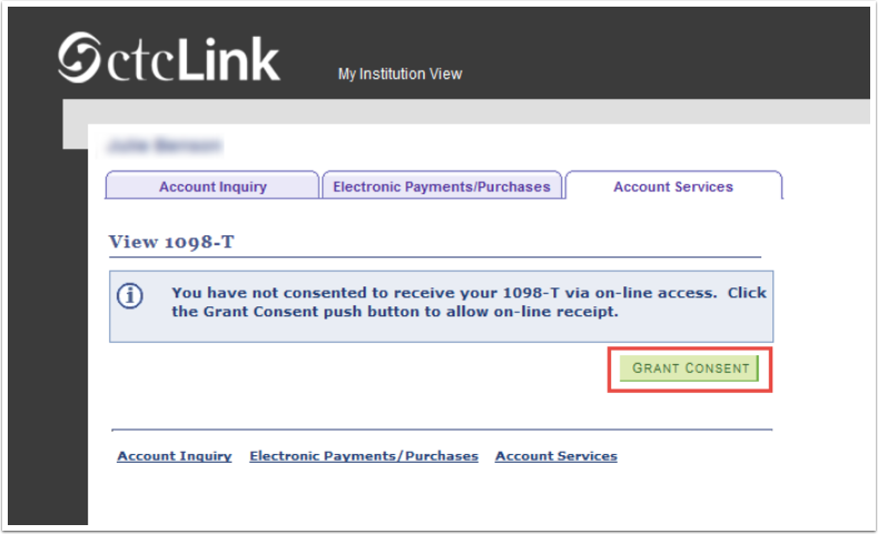 Account Services tab - Grant Consent button