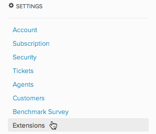 Settings > Extensions