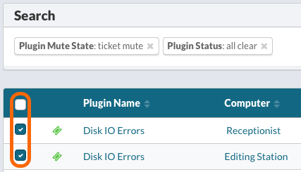 Select plugins to clear