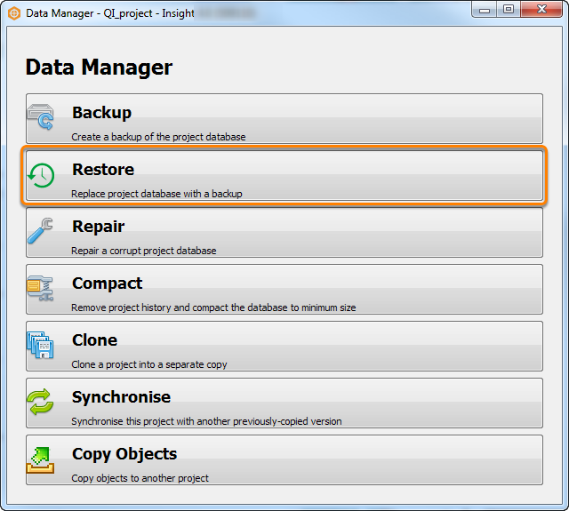 Replacing project database with a backup