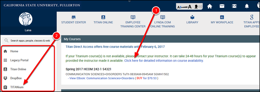 Under My Courses, click view ebook...