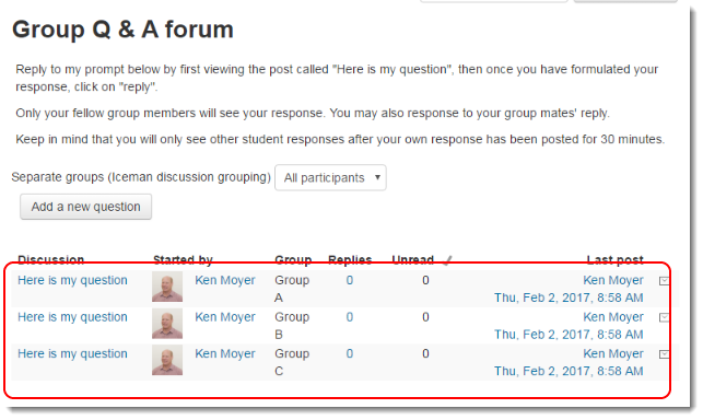 Group Q & A forum page