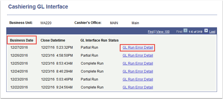 Cashiering GL Interface page - Business Date