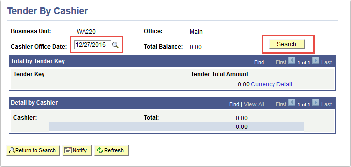 Tender by Cashier page - Date and Search highlighted