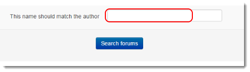 If searching for only one student's posts, then type the student's name in the Author field.