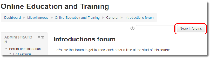 Search forum button is selected.