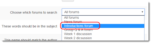 Use the dropdown to select the desired forum.