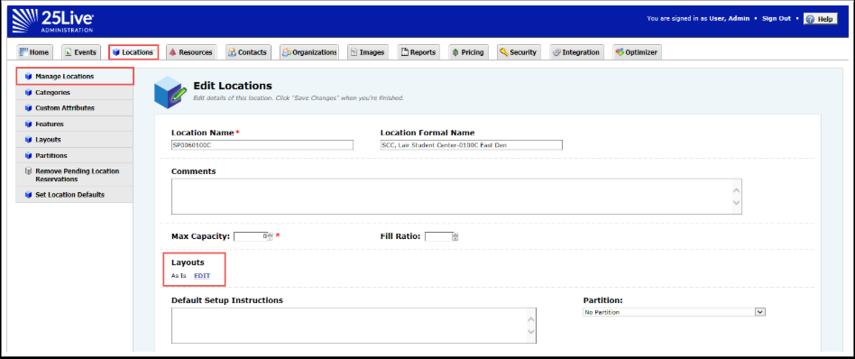 Edit Location Page