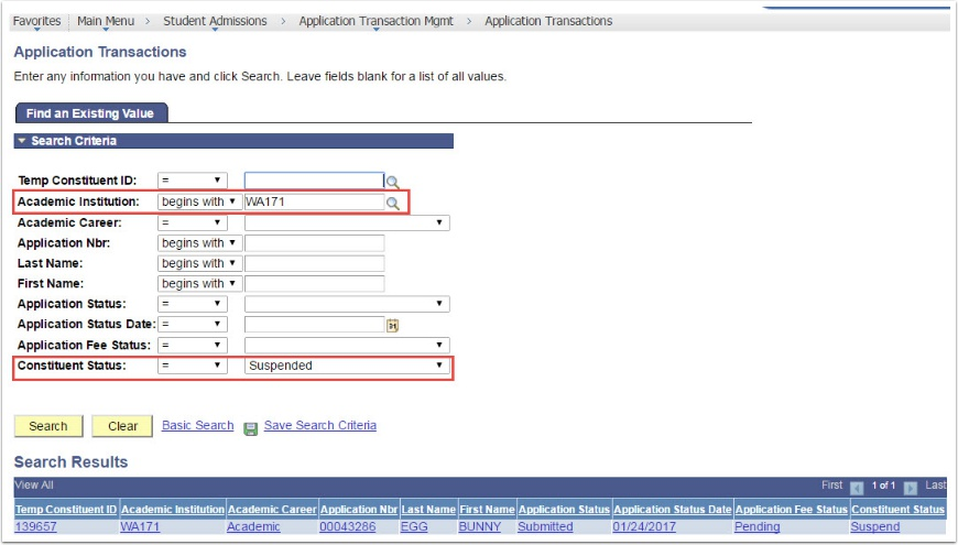 Aplication Transactions - Find an Existing Value page
