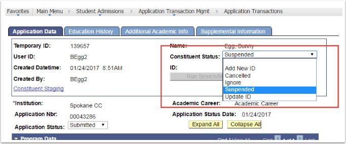 Application Data tab - Constituent Status = Suspended