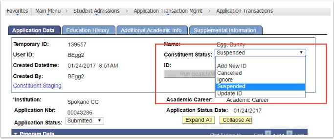 Application Data tab - Constituent Status = Suspended